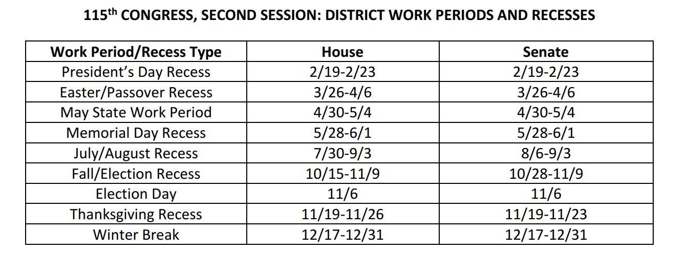 Congress Schedule Fall 2018